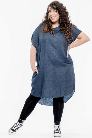 Kaftan Denim Dress Dark Blue