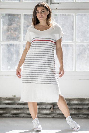 Koster Dress Light Grey Stripe