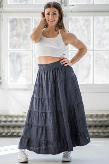 Dream Denim Skirt Dark Blue