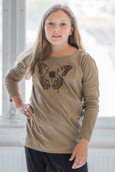 Butterfly Kids Long Sleeve Eco Beige