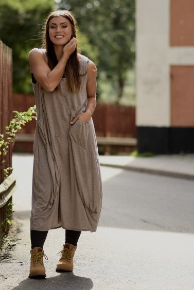 Noomi Dress Eco Warm Grey