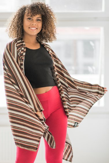 Open Poncho Stripe Embrace Grey Brown