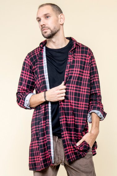 Checkered Shirt Man Black Red