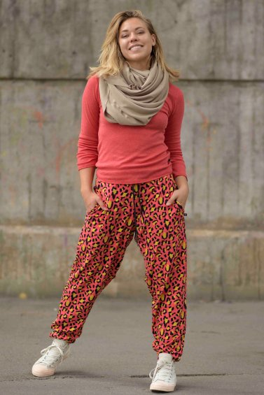 Soft Leopard Pant Coral Yellow