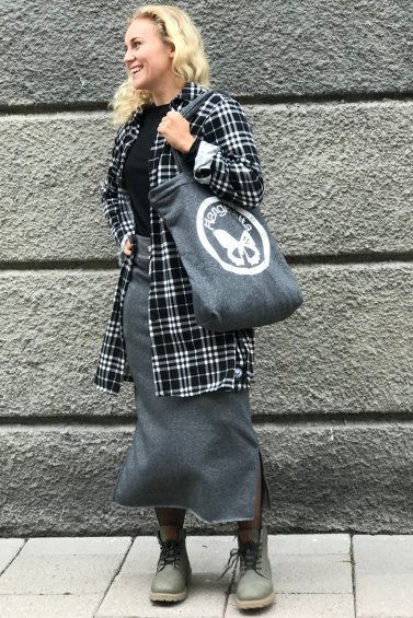 Sweat Skirt Long Grey+Cozy Bag Grey
