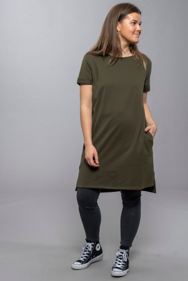 Wai Dress Short Sleeve Forest Green