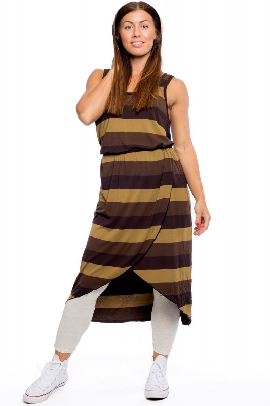 Thilda Dress Coffee Stripe
