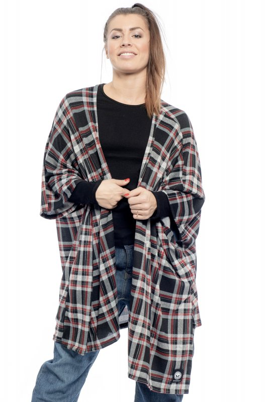 Open Kimono Checkered Black Red