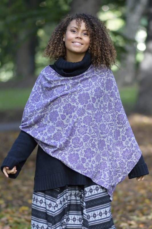 Poncho Cape Flower Purple