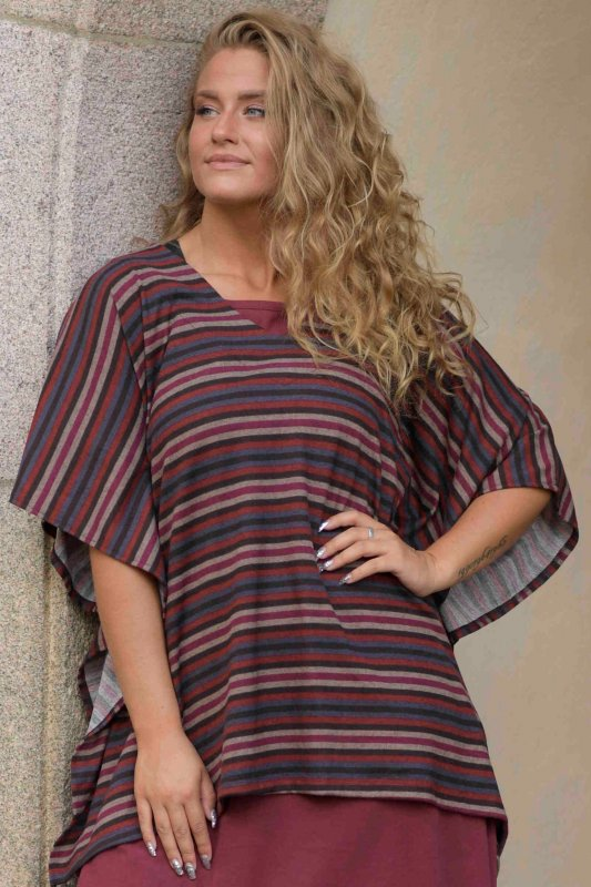 Poncho Cousco Knitted Stripe Maple Red