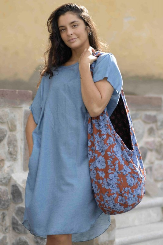 Hang Flower Bag Rust Blue