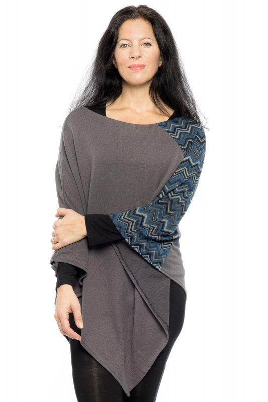 Poncho Cape Wavy Knitted Blue Grey