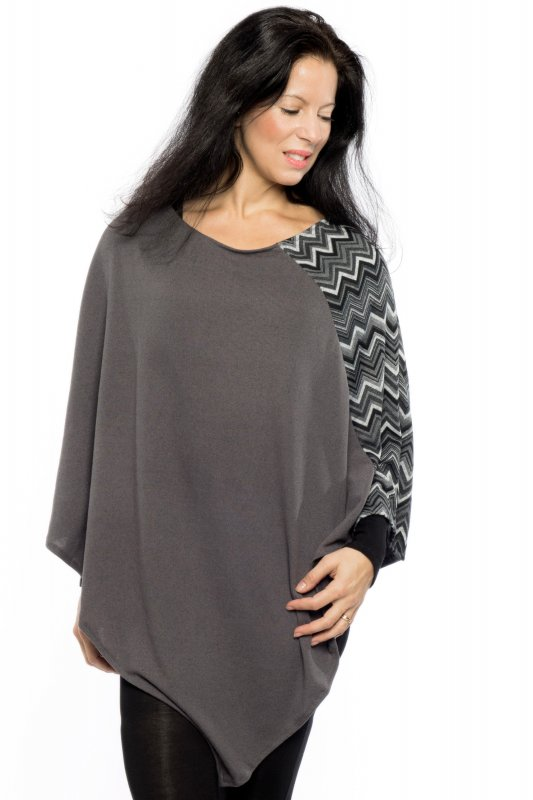 Poncho Cape Wavy Knitted Black Grey