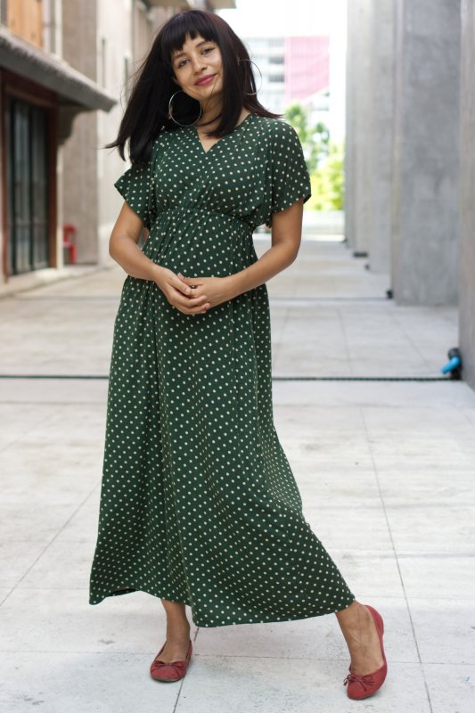 Jill Dot Dress Green Base