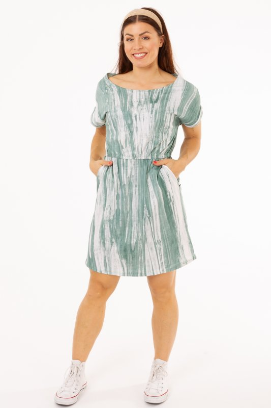 Paula Pocket Dress Green & White
