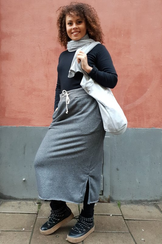 Sweat Skirt Long Grey + Cozy Bag